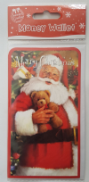 Merry Christmas Santa & Teddy Bear Money Wallet